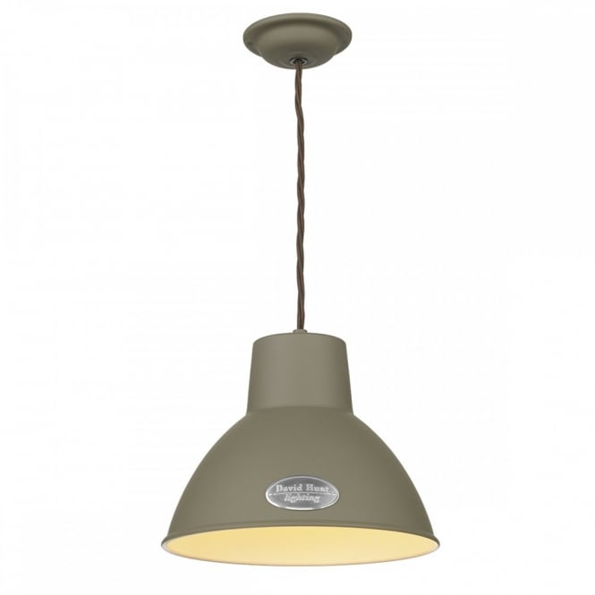 The David Hunt Lighting Collection UTILITY retro ceiling pendant in mole brown finish (small)