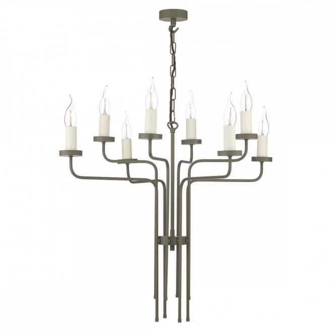 The David Hunt Lighting Collection VAIL 8lt ceiling pendant chandelier in mole brown finish