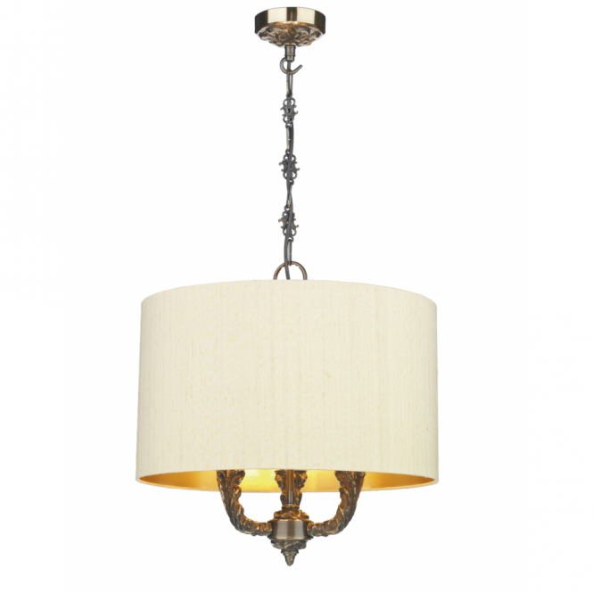 The David Hunt Lighting Collection VALERIO bronze ceiling pendant with shade