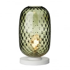 textured green glass table lamp with white base