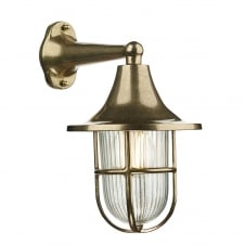 outdoor wall light in a brass finish with ribbed glass