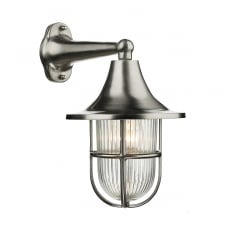 outdoor wall light in a nickel finish with ribbed glass