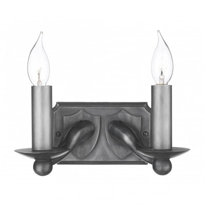 The David Hunt Lighting Collection WARWICK black iron double wall light