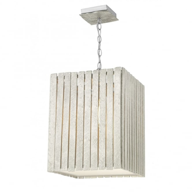 The David Hunt Lighting Collection WHISTLER rustic distressed silver wooden ceiling pendant