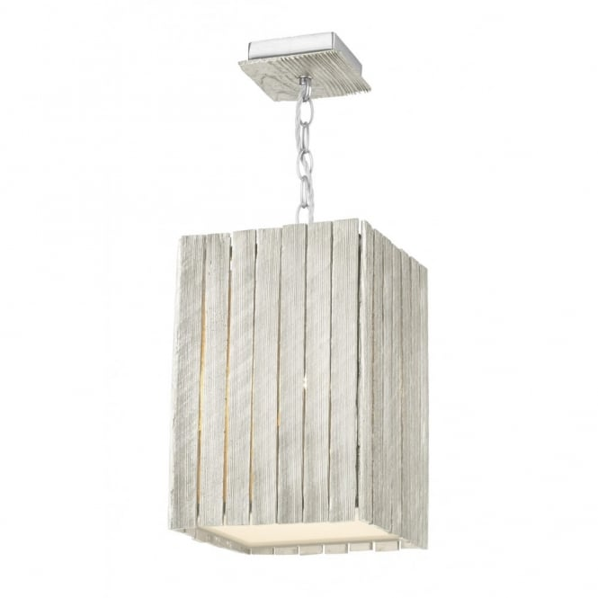 The David Hunt Lighting Collection WHISTLER rustic distressed silver wooden ceiling pendant (small)
