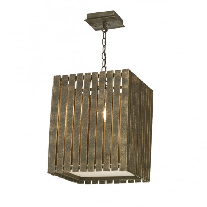 The David Hunt Lighting Collection WHISTLER rustic gold cocoa wooden ceiling pendant (large)