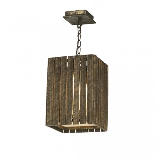 The David Hunt Lighting Collection WHISTLER rustic gold cocoa wooden ceiling pendant (small)
