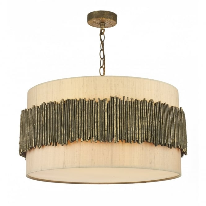 WILLOW rustic gold cocoa ceiling pendant