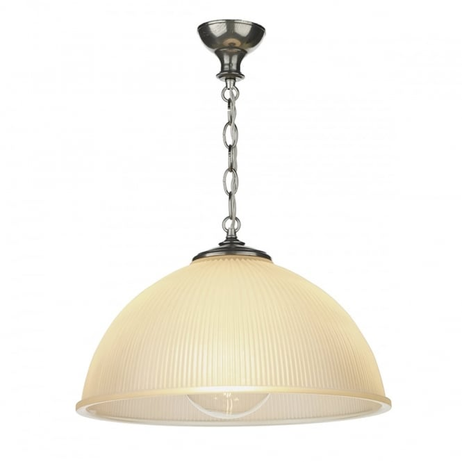 YEATS large ceiling pendant with pewter chain suspension and ribbed satin glass shade