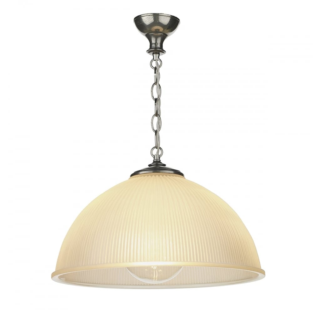 Ceiling Pendant With Pewter Chain Suspension And Ribbed