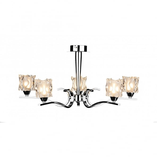 The David Hunt Lighting Collection ZOLA chrome ceiling light ice cube glass shades