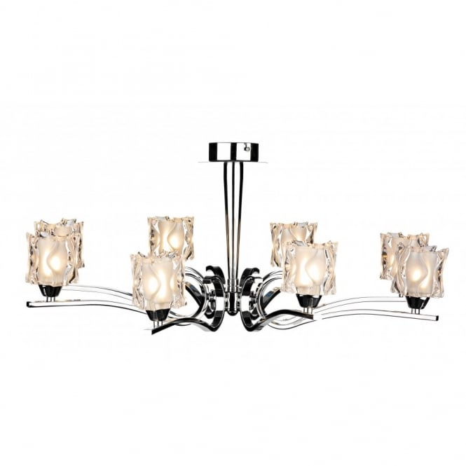 The David Hunt Lighting Collection ZOLA large chrome and glass light for low ceilings