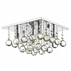 ABACUS 4 Light Flush Fitting Low Ceiling Light, Chrome