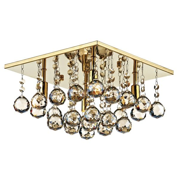 Square Gold And Crystal Flush Chandelier For Modern Settings