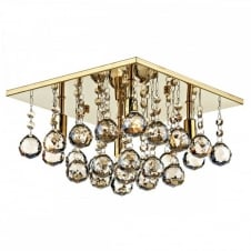 ABACUS 4 Light Flush Fitting Low Ceiling Light, Gold