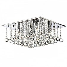 ABACUS 5 Light Flush Fitting Low Ceiling Light, Chrome