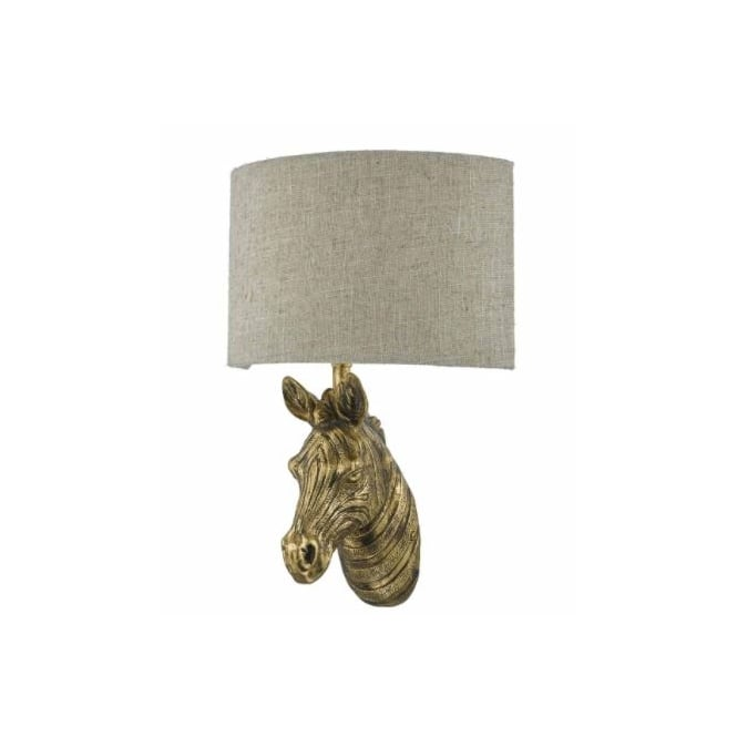 The Lighting Book ABBY rustic gold zebra wall light with linen shade