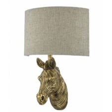 rustic gold zebra wall light with linen shade