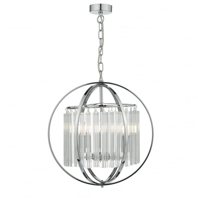 ABDUL decorative 3 light chrome pendant with crystal rods