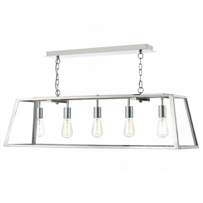 The Lighting Book ACADEMY Chrome Ceiling Light a Linear Shaped Glass Box Pendant Light fitting.