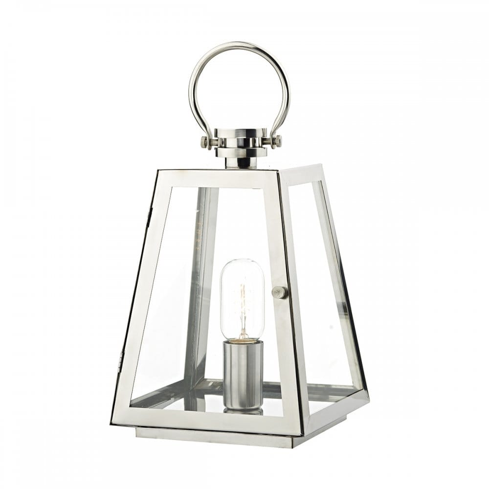 Patio Table Lights Uk: Tapered Stainless Steel Outdoor Table Lamp Lantern With