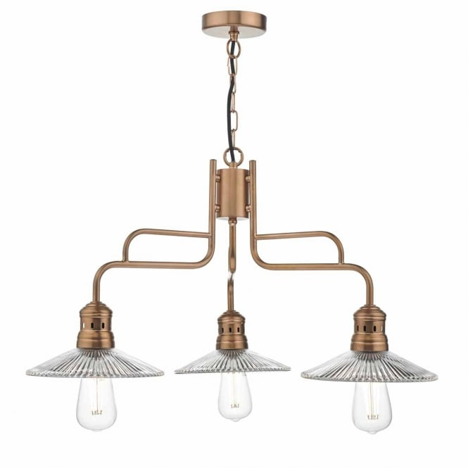 ADELINE copper 3 light ceiling pendant with ribbed glass shades