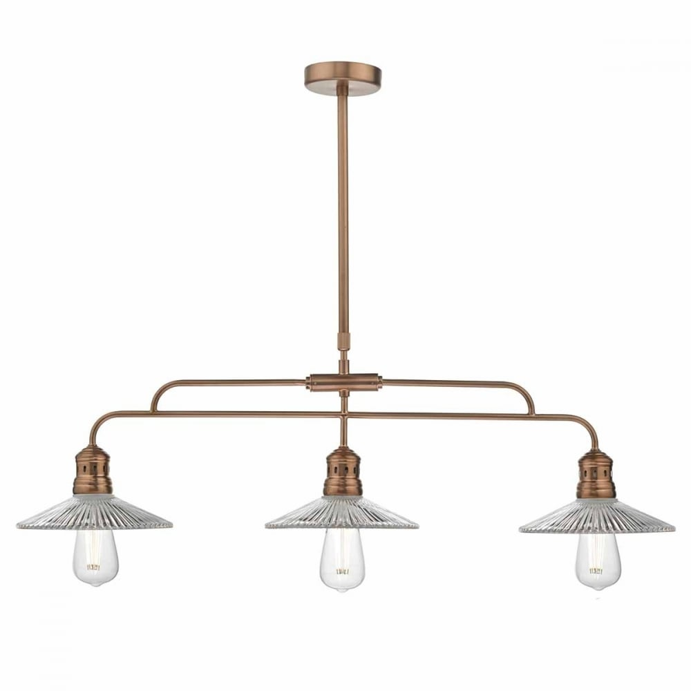 Retro industrial 3 light ceiling pendant bar in copper with glass copper pendant bar with clear ribbed glass shades aloadofball Gallery