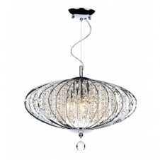 ADRIATIC large chrome & glass high ceiling pendant