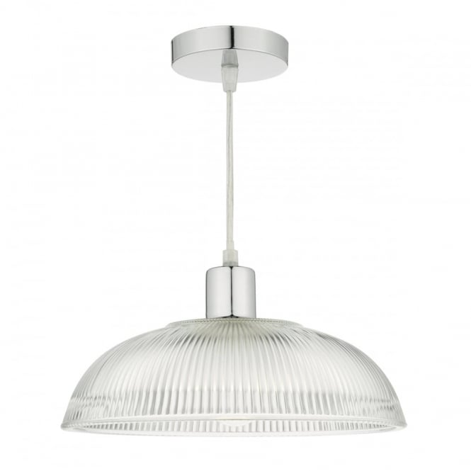 clear ribbed glass easy fit ceiling pendant shade