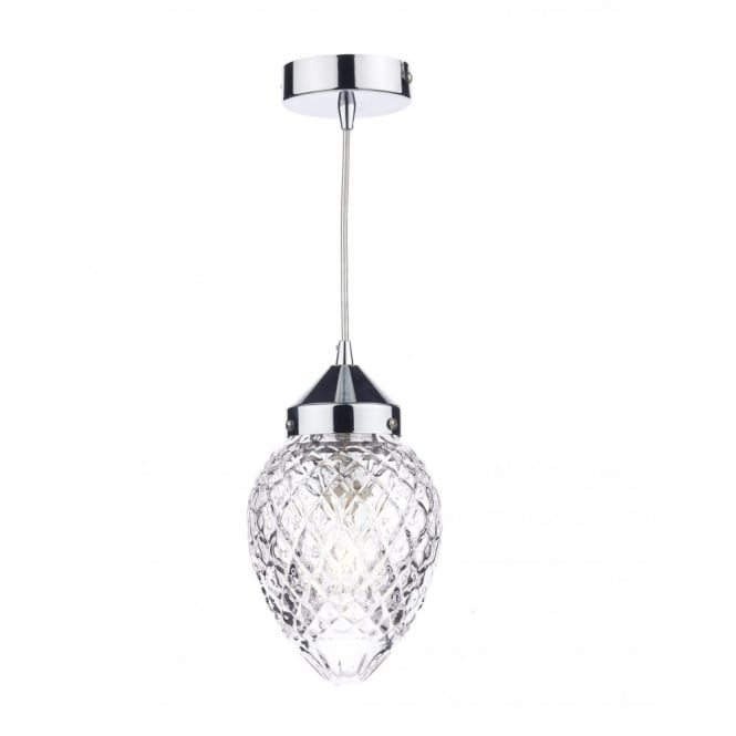 The Lighting Book AGATHA polished chrome and decorative glass ceiling pendant