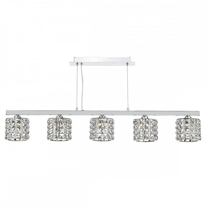 The Lighting Book AGNETA a Linear Modern Ceiling Light dressed with real crystal faceted glass.