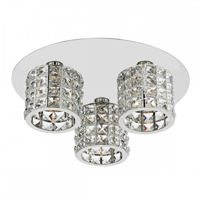 The Lighting Book AGNETA Modern Chrome and Crystal Circular Light Fitting. Flush Mounting Light.