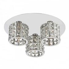 AGNETA Modern Chrome and Crystal Circular Light Fitting. Flush Mounting Light.