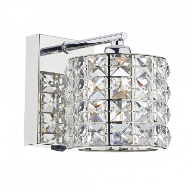 Modern decorative wall light in polished chrome with crystal shade decorative modern wall light in chrome with crystal bead shade aloadofball Choice Image