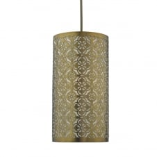 bronze fret work pendant shade with cotton inner