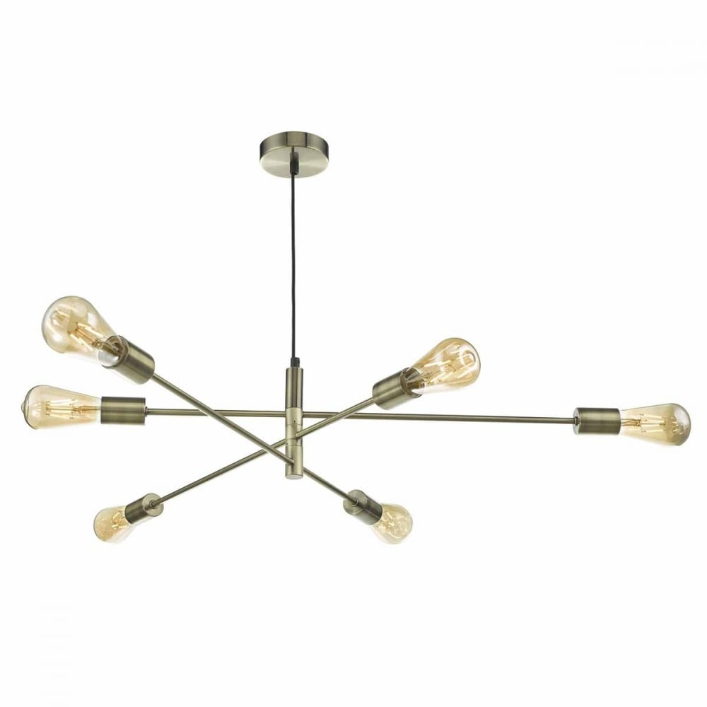 Industrial 6 Light Antique Brass Ceiling Pendant