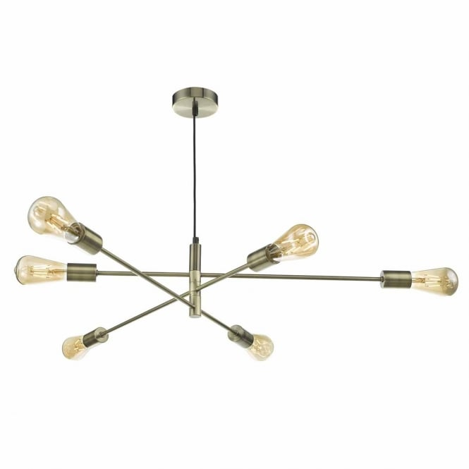 The Lighting Book ALANA 6 light antique brass ceiling pendant