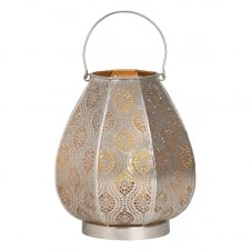 nickel cut out table lamp lantern with gold inner