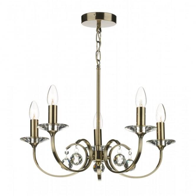 ALLEGRA 5 Light Antique Brass Ceiling Pendant