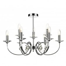 ALLEGRA chrome ceiling pendant for high ceilings