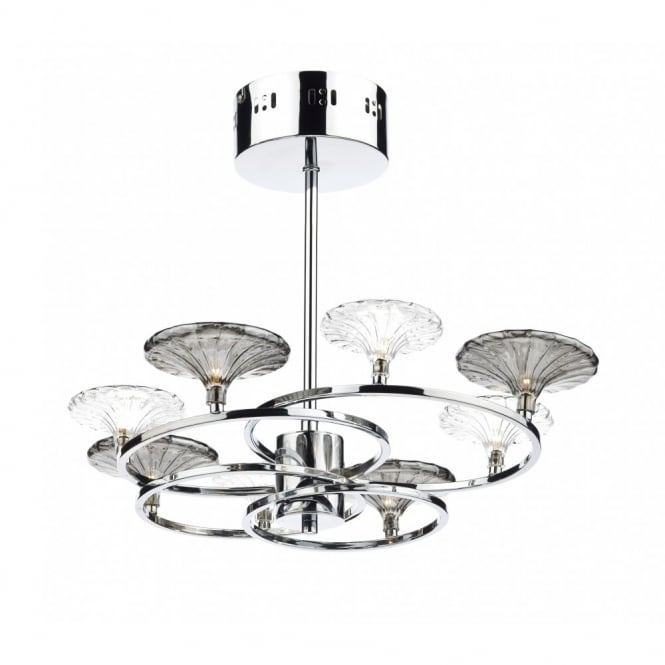 The Lighting Book ALSACE modern 8 light semi flush ceiling light in polished chrome