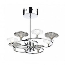 ALSACE modern 8 light semi flush ceiling light in polished chrome