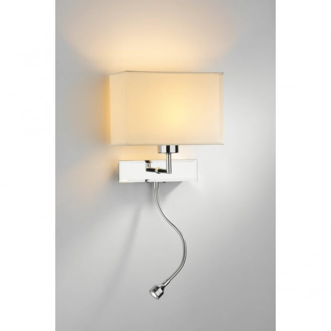 The Lighting Book AMALFI chrome wall light wth LED reading arm