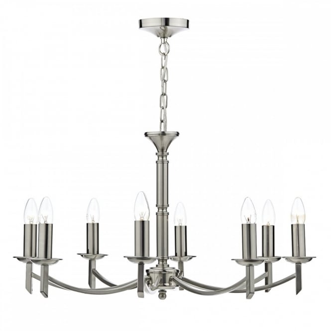 The Lighting Book AMBASSADOR Satin Chrome 8 Light Chandelier. Dual Mount which means can be used with or without the chain.