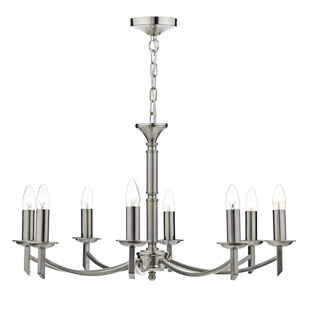Satin silver chrome ceiling light a simple unfussy chandelier light - Can light chandelier ...