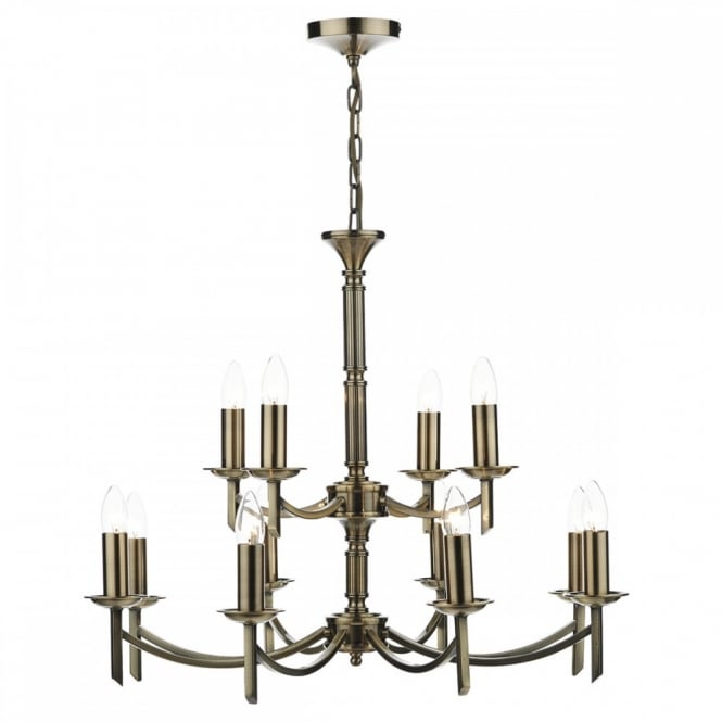The Lighting Book AMBASSADOR traditional antique brass 12 light ceiling light (dual mount)