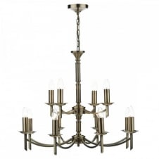 AMBASSADOR traditional antique brass 12 light ceiling light (dual mount)