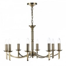 AMBASSADOR traditional antique brass 8 light ceiling light (dual mount)