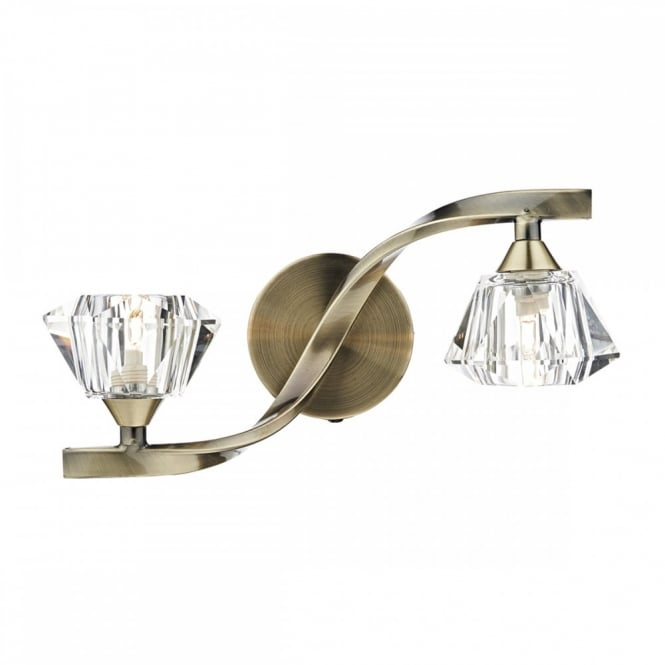 The Lighting Book ANCONA A Twin Antique brass Modern Crystal Wall Light.