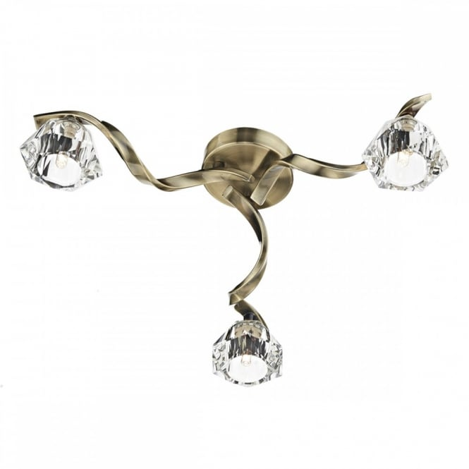 The Lighting Book ANCONA Modern Flush Ceiling Light. Twisted antique brass frame holds 3 crystal glass shades.